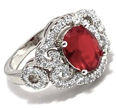 2.50ctw Red Corundum & 0.35ctw White Diamonique Antique Design Ring Size 7