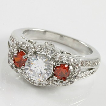 2.50ctw Ruby & White Sapphire Ring Size 7