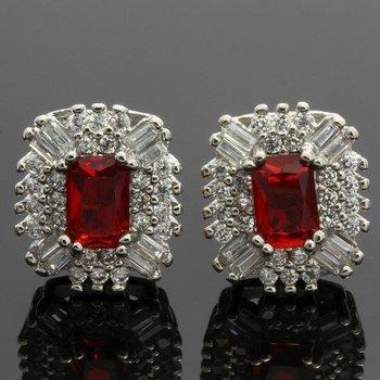2.50ctw Ruby & White Topaz Earrings