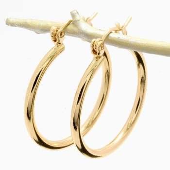 25mm Gold Overlay Hoop Earrings