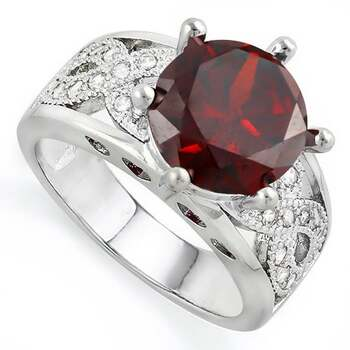 2.60ctw Beautifully Created Fine Garnet and White Sapphire Ring Size 6