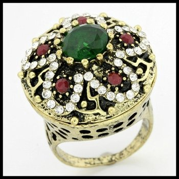 2.65ctw Emerald, Ruby & (AAA Grade) CZ's Ring size 6.5