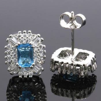 2.70ctw Blue Topaz & White Sapphire Stud Earrings