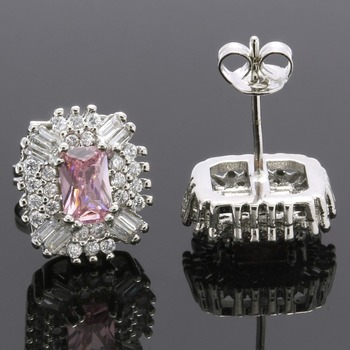 2.70ctw Pink & White Sapphire Stud Earrings