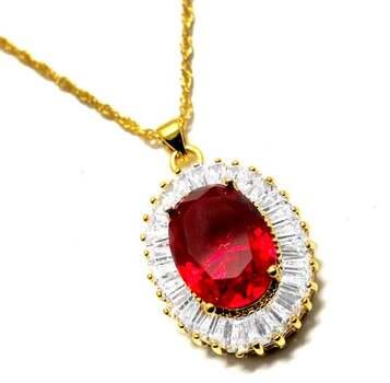 27.0ctw Red Corundum & 2.75ctw White Diamonique Necklace