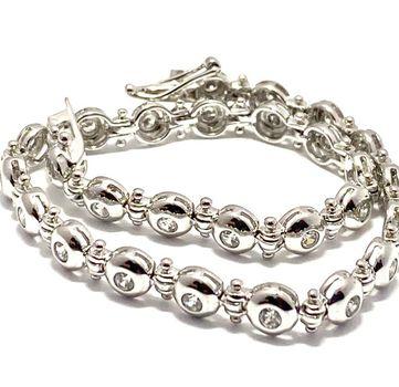 """2.75ctw Diamonique Tennis Bracelet Platinum & 925 Sterling Silver 7"""" Long"""