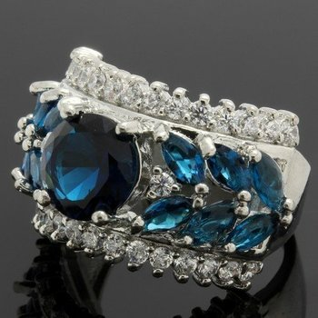 2.79ctw Blue Sapphire &  White Topaz Ring Size 6 3/4