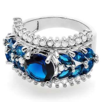 2.79ctw Blue Sapphire &  White Topaz Ring Size 8