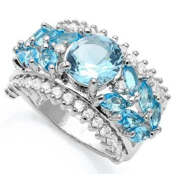 2.79ctw Blue &  White Topaz Ring Size 6 3/4