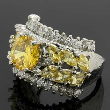 2.79ctw Yellow &  White Topaz Ring Size 6 3/4