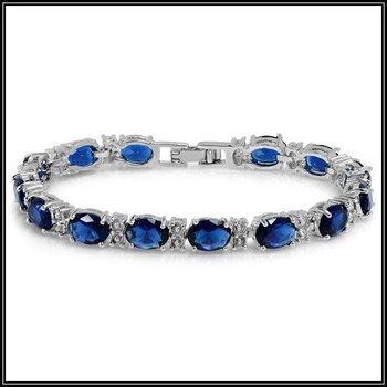 28.00ctw AAA+ Fine Blue Cubic Zirconia CZ Bracelet