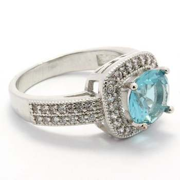 2.80ctw Sky Blue Topaz & AAA Grade CZ's Ring Size 6