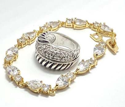 28.50ctw White Diamonique Lot of Bracelet & Ring