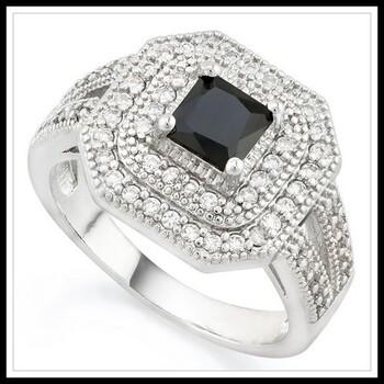 2.85ctw Black & White Sapphire Ring Size 7