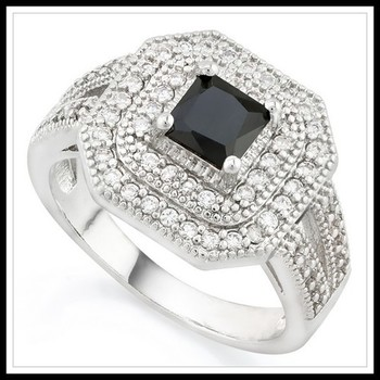 2.85ctw Black & White Sapphire Ring Size 7