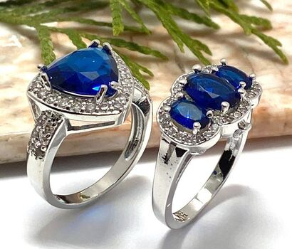 2pc LOT- 1.85ctw Blue & White Sapphire Ring Size 8 / 4.30ctw Blue and White Topaz Ring Size 8