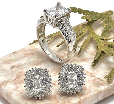 2pc LOT- 2.85ctw AAA+ Grade Fine Cubic Zirconia Ring Size 7 & 2.50ctw White Topaz Earrings