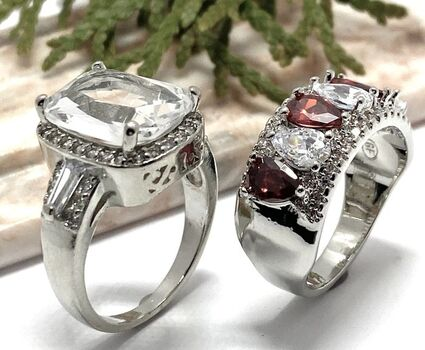 2pc LOT- 3.60ctw Ruby and White Sapphire Ring Size 7 & 9.10ctw White Sapphire Ring Size 7