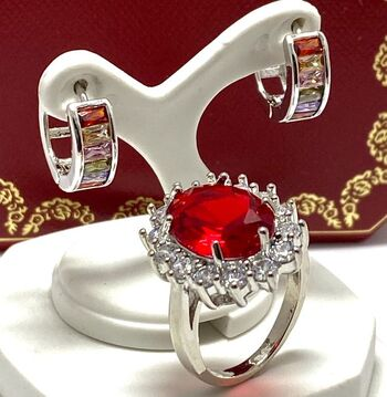 2pc LOT- 6.14ctw Garnet and White Sapphire Ring Size 7 & 2.40ctw Multi-Color Gemstones Earrings