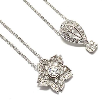 2PC LOT: .925 Sterling Silver & White Topaz Flower, Air balloon Necklace