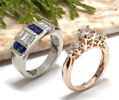 2pc LOT- Blue & White CZ Band / Rose Gold Engagement Promise Ring in Size 7