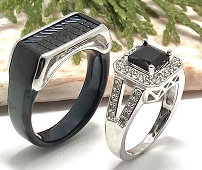 2pc LOT Rings Black Men's Stainless Steel Ring Size 10 & 1.4ctw Dark Sapphire & White Sapphire Ring Size 7