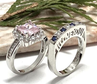 """2pc LOT.85ctw Pink & White Sapphire Ring Size 6.5 & 0.70ctw Cubic Zirconia """"I Love You"""" Ring Size 7"""