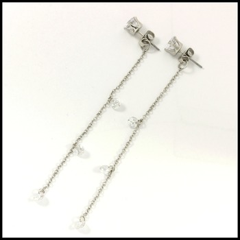 "3"" Long Cubic Zirconia & Jewelry Brass with 3x14k White Gold Overlay Earrings"