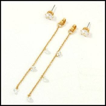 "3"" Long Cubic Zirconia & Jewelry Brass with 3x14k Yellow Gold Overlay Earrings"