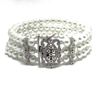 3 Stand White Pearl Filigree Antique Style Bracelet