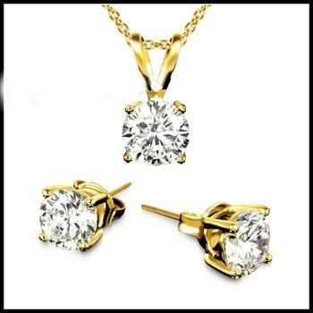 3.00ctw AAA+ Grade Fine White Cubic Zirconia Earrings & Necklace Set