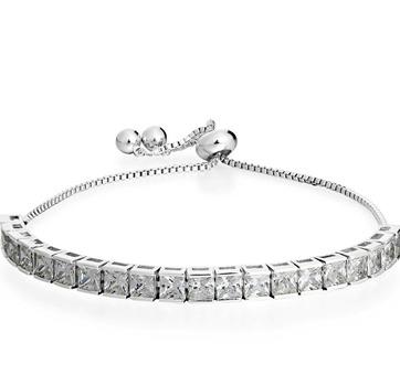3.00ctw AAA+ Grade White Cubic Zirconia 14k White Gold Overlay Adjustable Bracelet
