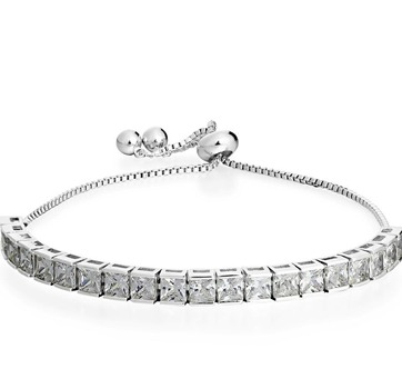 3.00ctw AAA+ Grade White Cubic Zirconia Fine Jewelry Brass with White Gold Overlay Adjustable Bracelet
