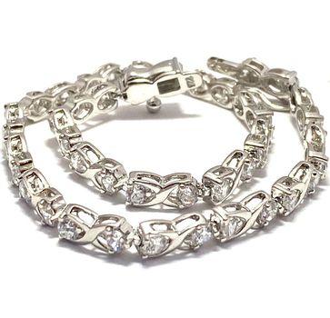 """3.00ctw Diamonique Tennis Bracelet Platinum & 925 Sterling Silver 7.5"""" Long"""