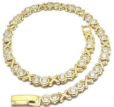 "3.00ctw Diamonique Tennis Bracelet Yellow Gold & 925 Sterling Silver 7"" Long"