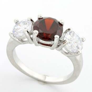 3.00ctw Garnet & Cubic Zirconia Ring size 6 3/4
