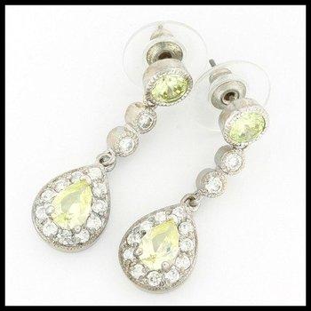 3.00ctw Peridot & (AAA Grade) CZ's Dangle Earrings