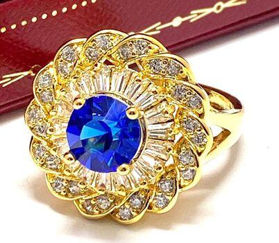 3.00ctw Sapphire & Diamonique Ring Size 8.5