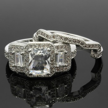 3.00ctw White Sapphire Set Of Two Rings Size 6 3/4