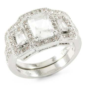 3.00ctw White Sapphire Set Of Two Rings Size 7