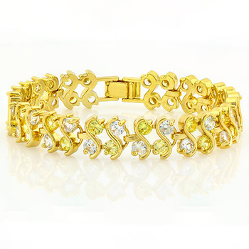 3.00ctw Yellow and White Sapphire, Fine Jewelry Brass with 3x 14k Yellow Gold Overlay Bracelet