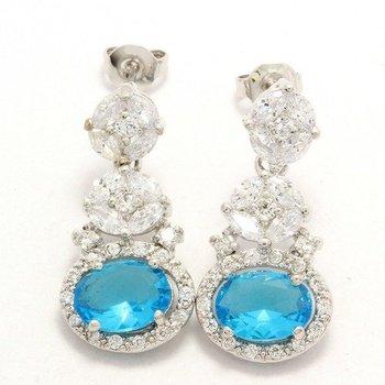 3.02ctw Sky Blue Topaz & White Sapphire Earrings