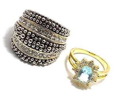 3.0ctw Blue Topaz & 1.15ctw White Diamonique Lot of 2 Rings Size 7