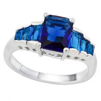 3.10ctw Blue Italian CZ's (AAA Grade), 18k Gold Dipped Lead Free Hypoallergenic & Tarnish Free Ring Size 8