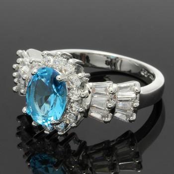 3.10ctw Blue Topaz & White Sapphire Ring Size 7
