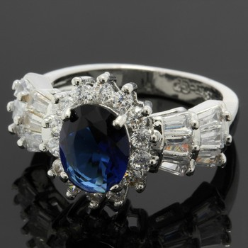 3.10ctw Blue & White Sapphire Ring Size 6.5