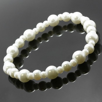3-11mm Freshwater White Pearl Stretch Bracelet