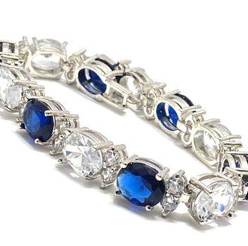 32.00ctw Man-made Sapphire & 31.75ctw Diamonique Tennis Bracelet