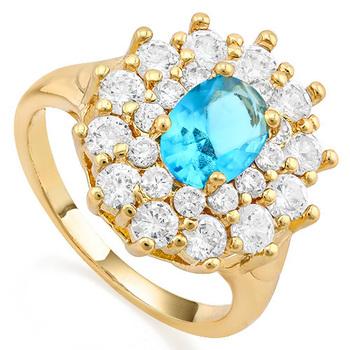 3.20ctw  Swiss Blue Topaz & White Sapphire Ring Size 7