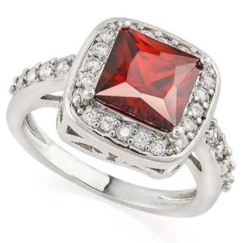 3.25ct Garnet and White Sapphire Ring Size 8